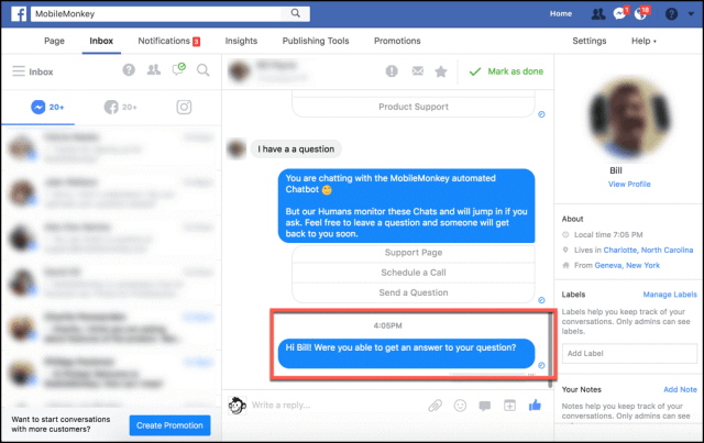 Mobile Monkey Facebook Chat