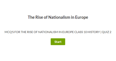 MCQ's for The Rise of Nationalism in Europe Class 10 History   Quiz 2