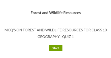 MCQ's for Forest and Wildlife Resources Class 10 Geography | Quiz 1