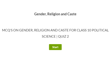 MCQ's on Gender, Religion and Caste for Class 10 Political Science | Quiz 2