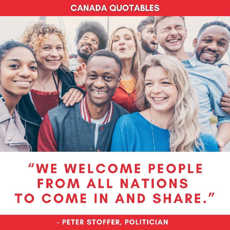 Canada Picture Quote - We Welcome People From All Nations to Come in and Share