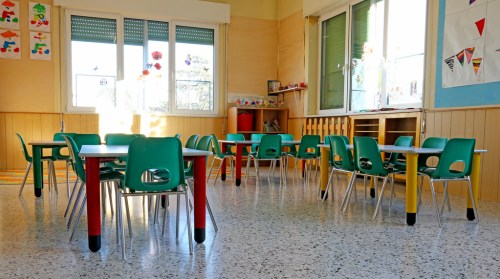 interiors of a kindergarten class with the Green chairs and children's decorations