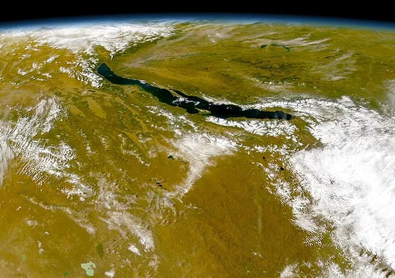 satellite view of lake baikal, world's deepest lake