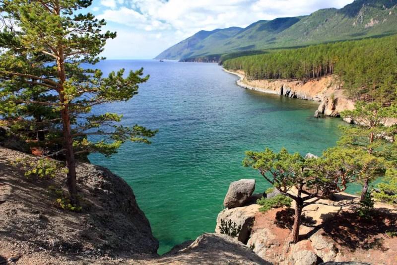 scene of coastline during summer on lake baikal, russia, world's deepest lake
