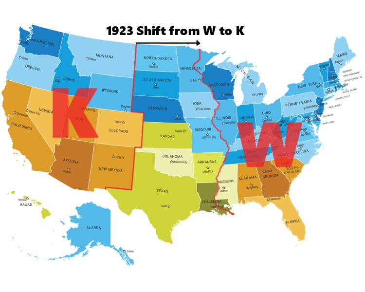Map of usa for beginning call letters for radion and tv stations with 1923 shift that moved boundry to the Mississippi River.