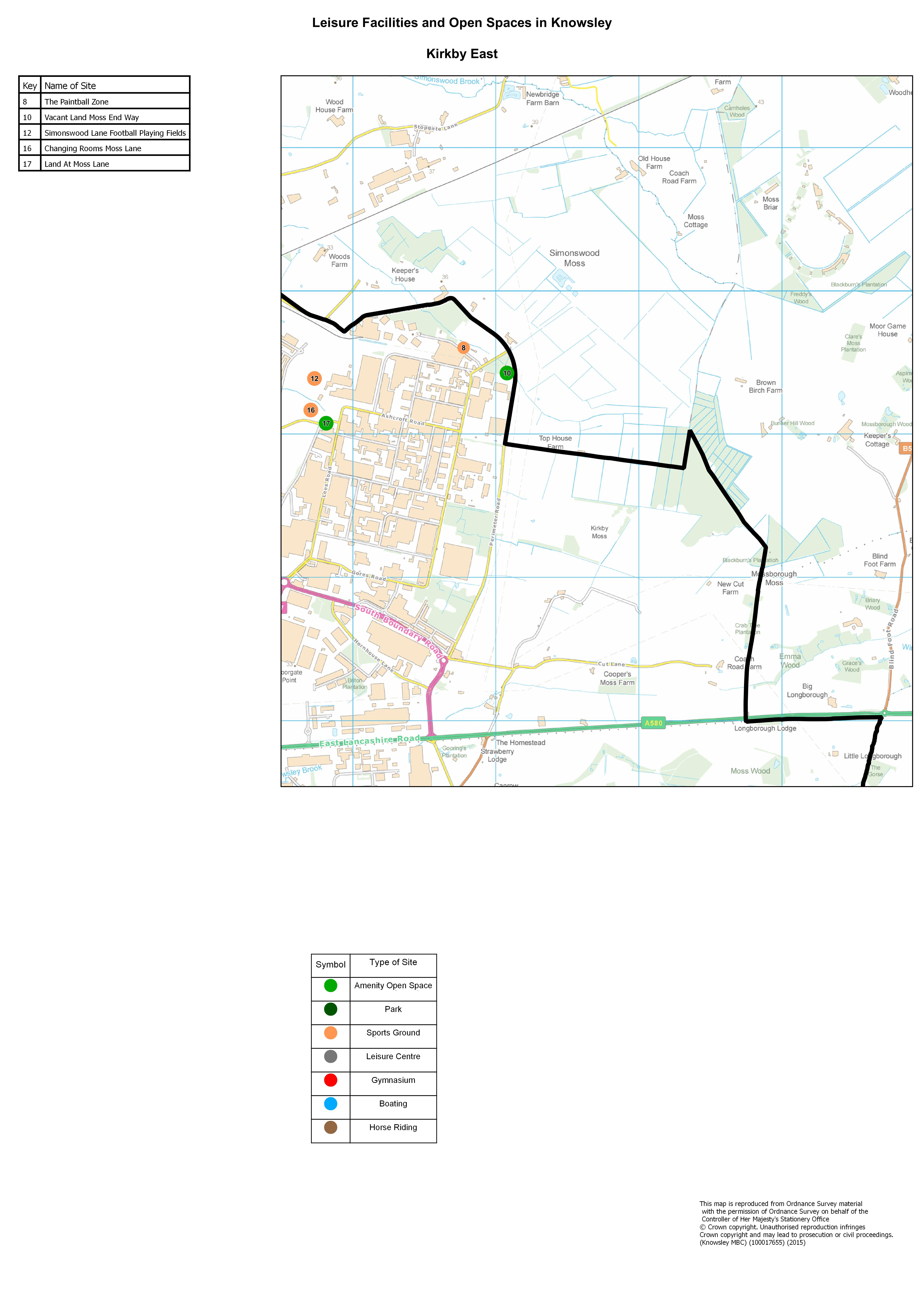 Leisure faciliites and open spaces in knowsley kirkby