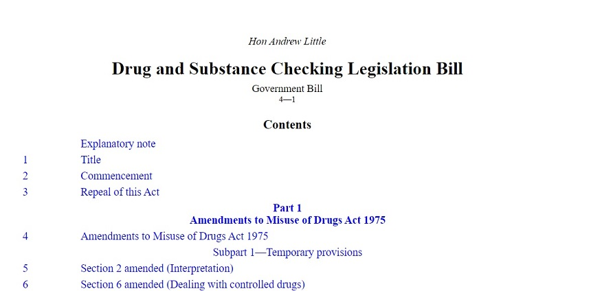 Image, title page of the Drug and Substance Checking Legislation Bill
