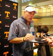 Butch Jones speaks at a post-practice press conference (Photo by Evan Woodbery)