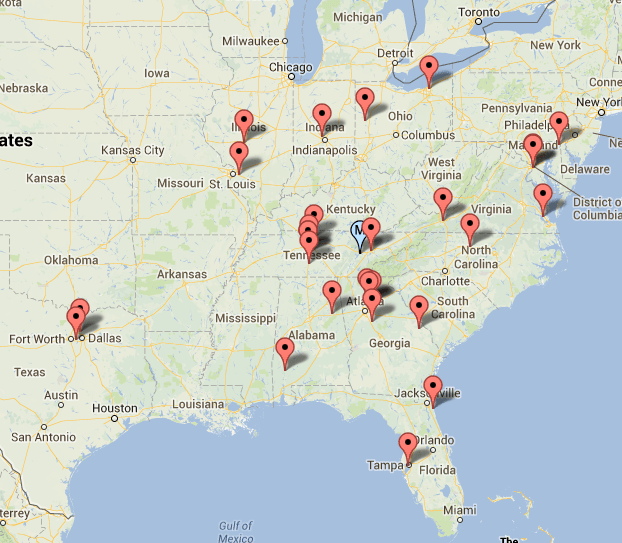 The geographic midpoint of Tennessee's 2014 recruiting class as of Oct. 28, 2014.