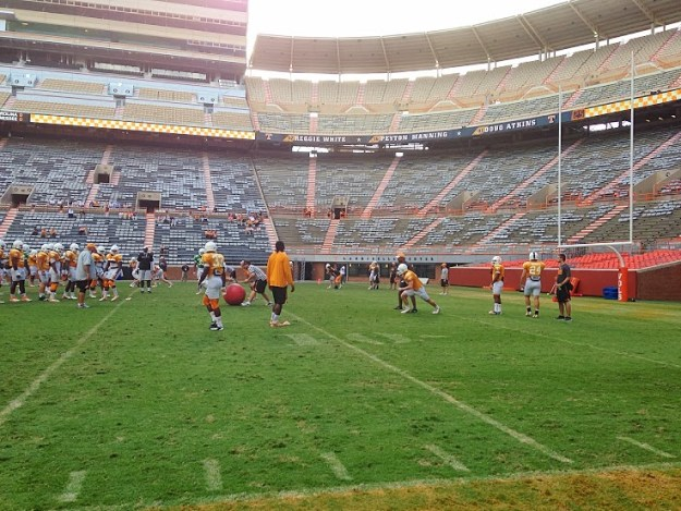 The Vols practice at Neyland Stadium on Oct. 9, 2013.
