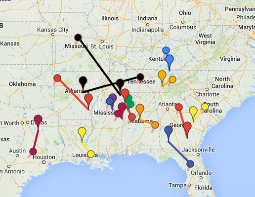 A national view of SEC recruiting midpoints. See the maps below for zoomed-in versions.