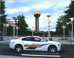 KCSO cruiser parked in front of sunsphere