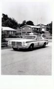 Black and white photo of 1980's-ish KCSO cruiser