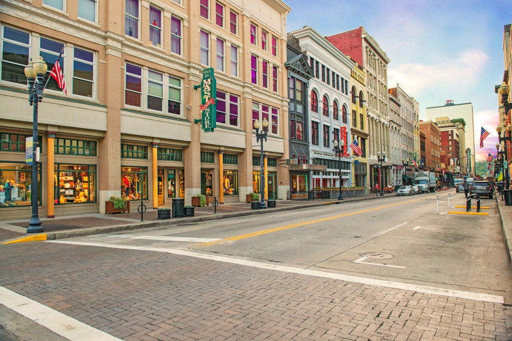 Street facing stores in downtown Knoxville