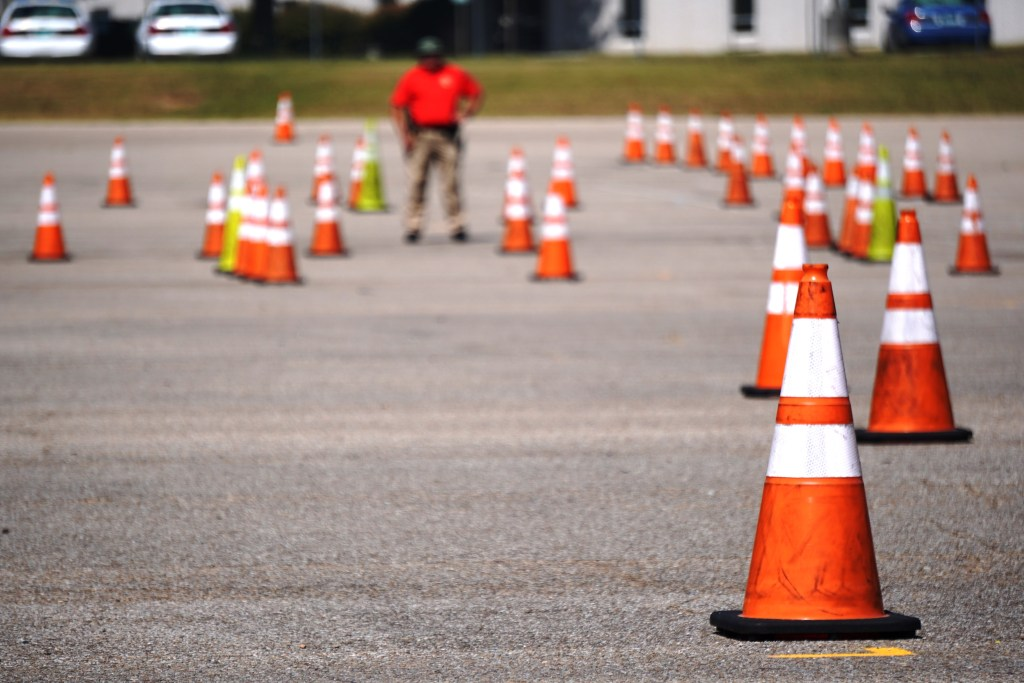 Cones set up on driving course
