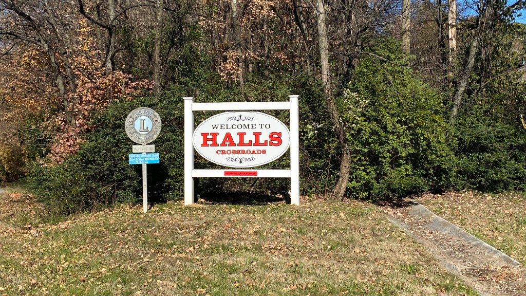 Halls welcome sign