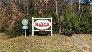 Halls welcome sign