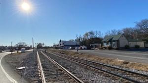 Railroad crossing in powell