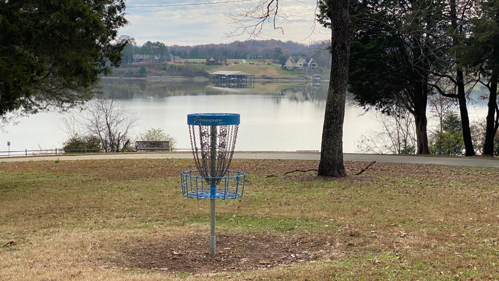 Frisbee golf target near river