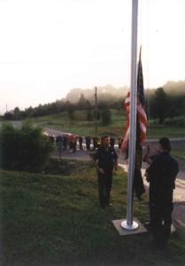 Officers performing flag raising