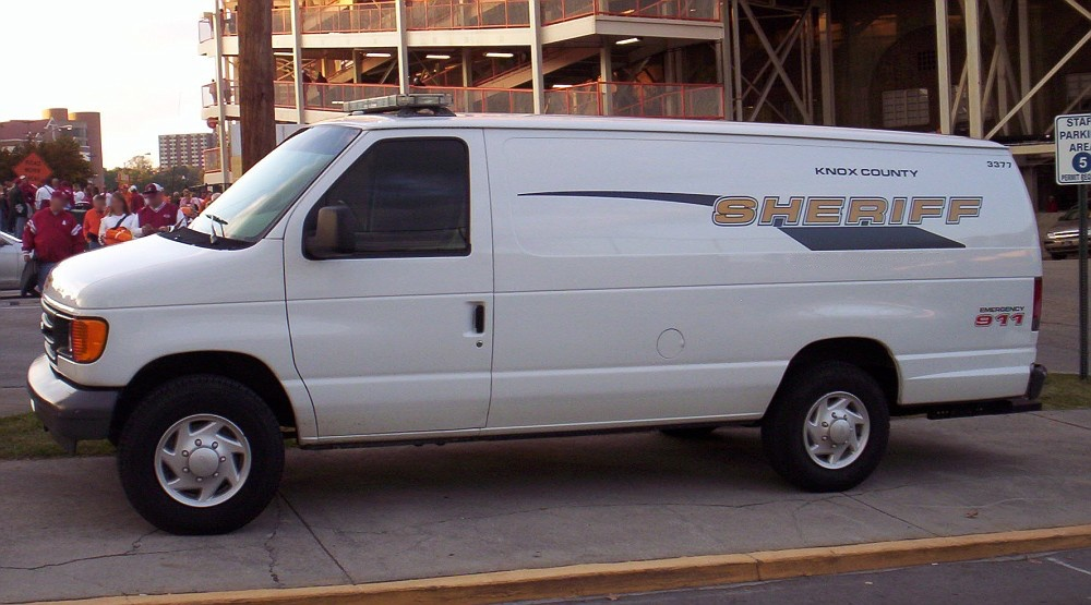KCSO transport van parked near Neyland Stadium