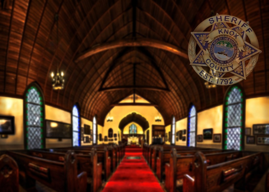 Worship area interior with Sheriff badge in corner