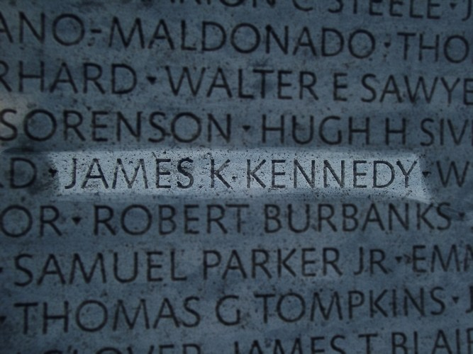 Highlight of James Kennedy's name on memorial wall