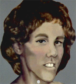 Sketch drawing of white female with short reddish hair