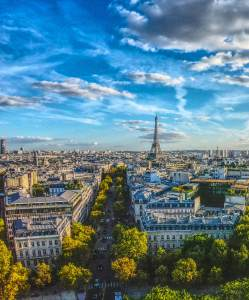 Overview of Paris with Eiffel Tower in background