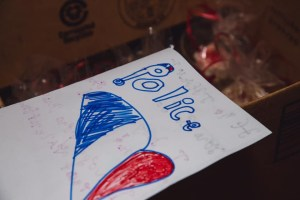 """Hand drawn letter with """"Police"""" and a red, white, and blue heart"""
