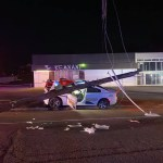 KCSO cruiser wrecked with utility pole lying on roof