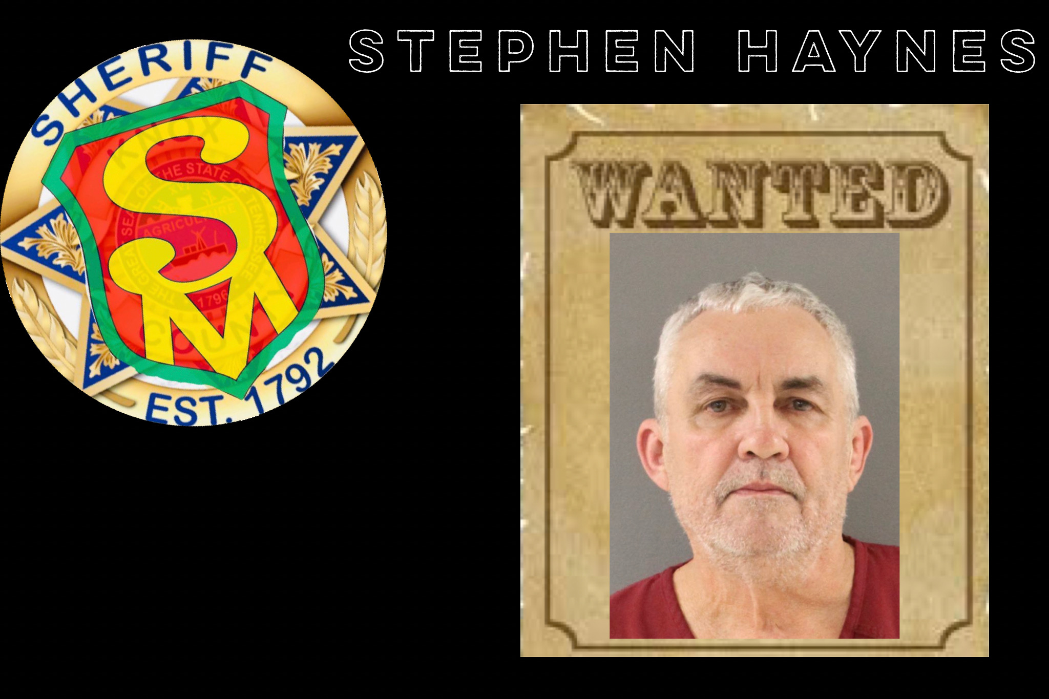 Mugshot of older white male, short grey hair on wanted poster with SafetyMan badge