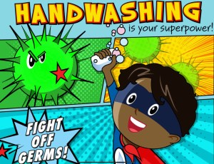 comic character with germs talking about washing hands