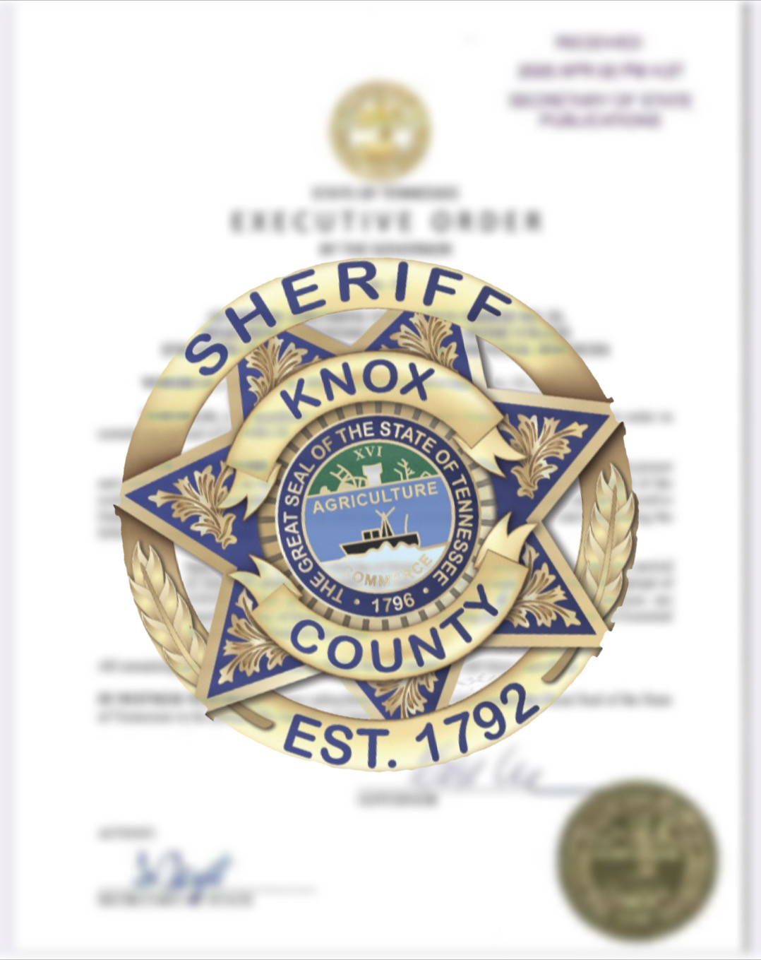 KCSO badge with executive order in background