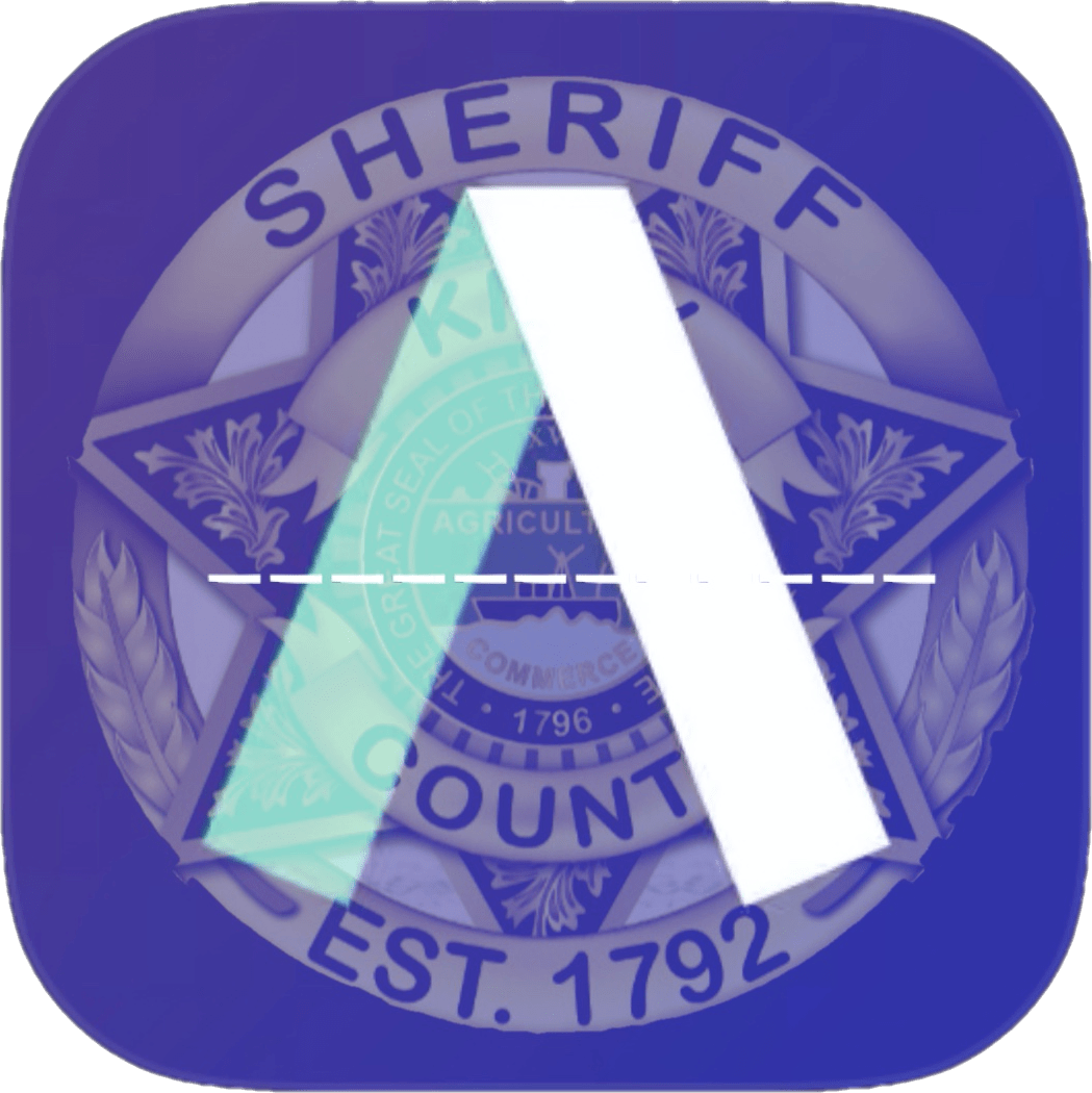 KCSO badge with purple background and folded ribbon