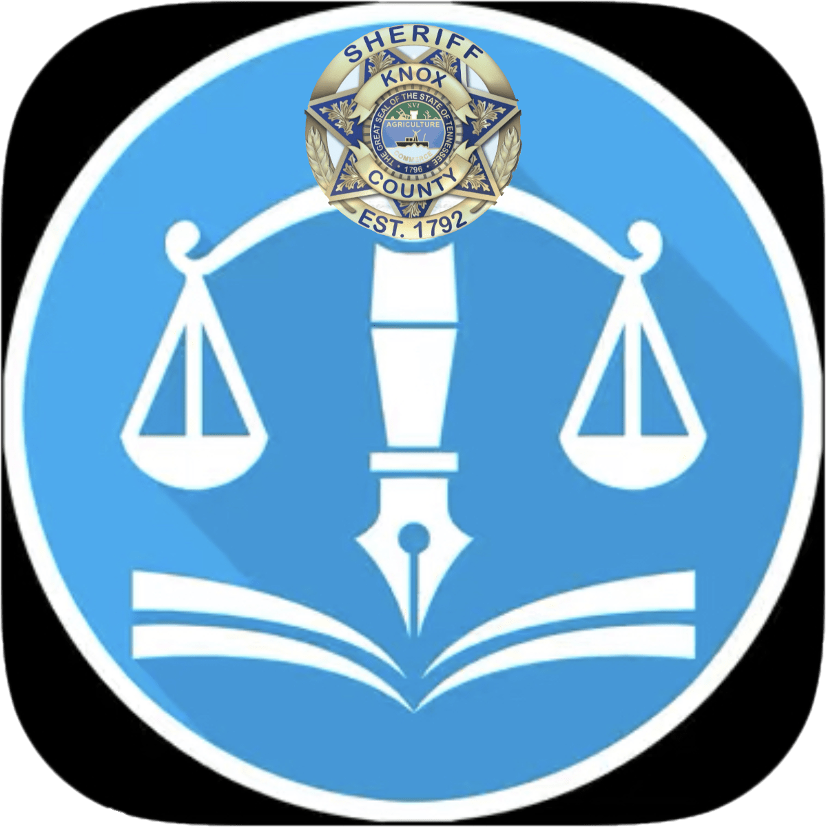 Scales of justice in blue circle with KCSO badge