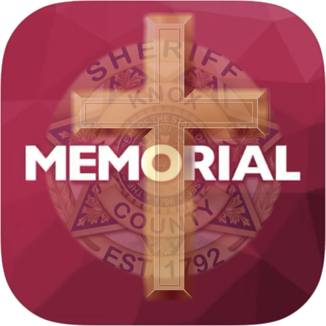 "KCSO badge with cross overlay and ""memorial"" on magenta background"