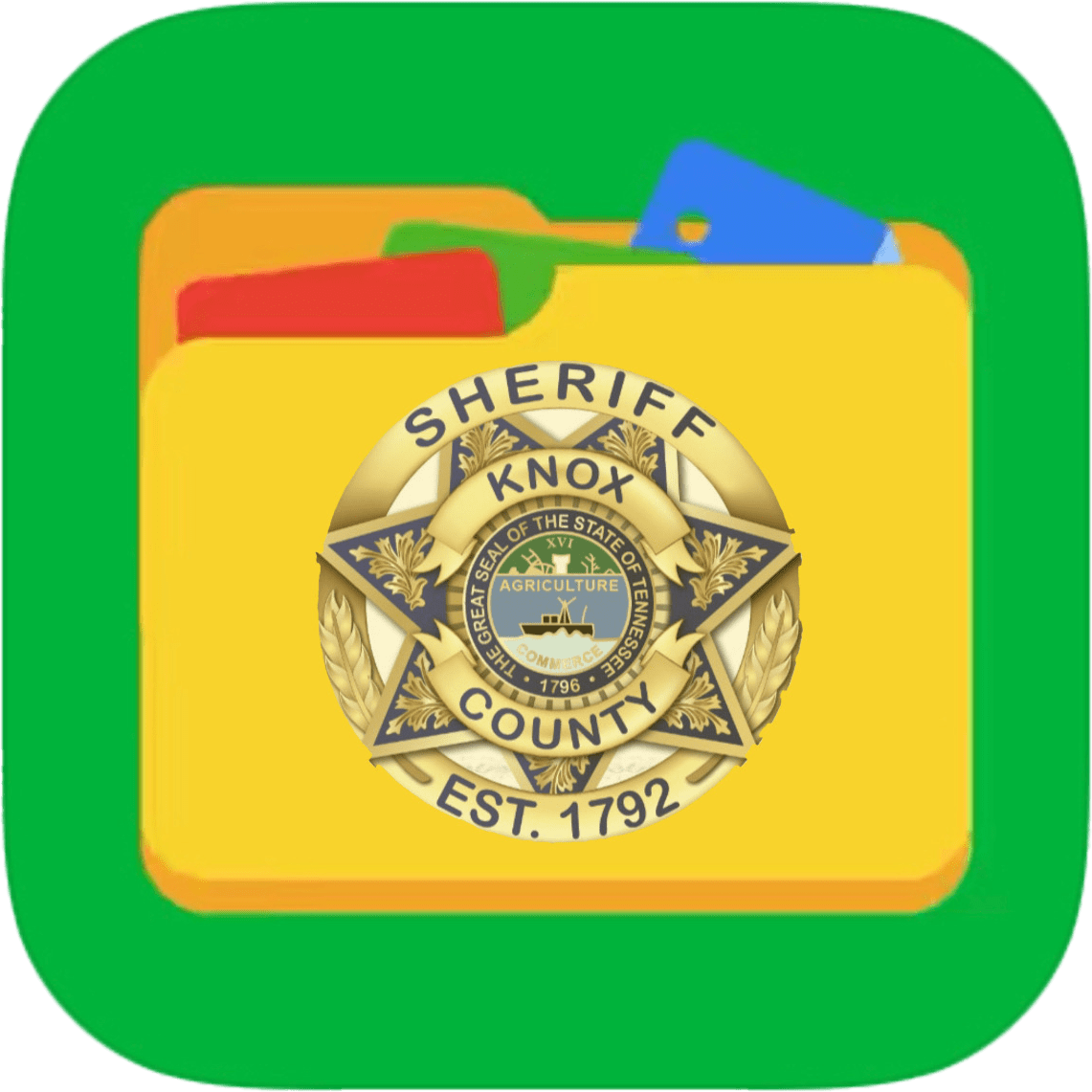 Folder on green background with KCSO badge