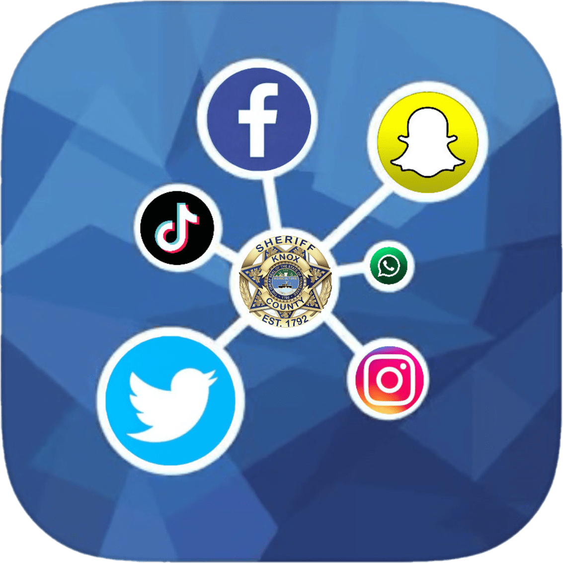 Linked social media icons with KCSO badge on blue background