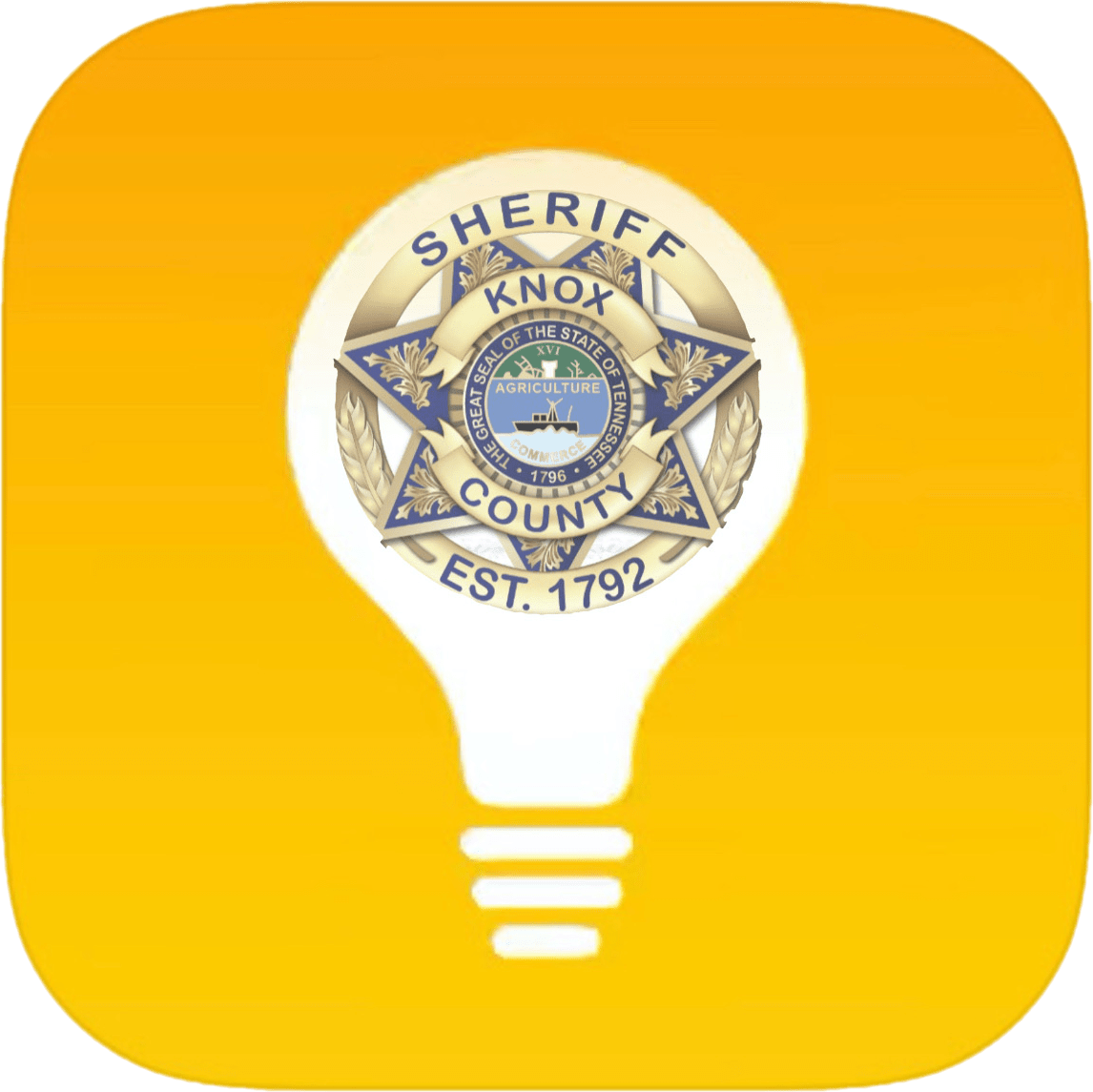Lightbulb clipart with KCSO badge on yellow background