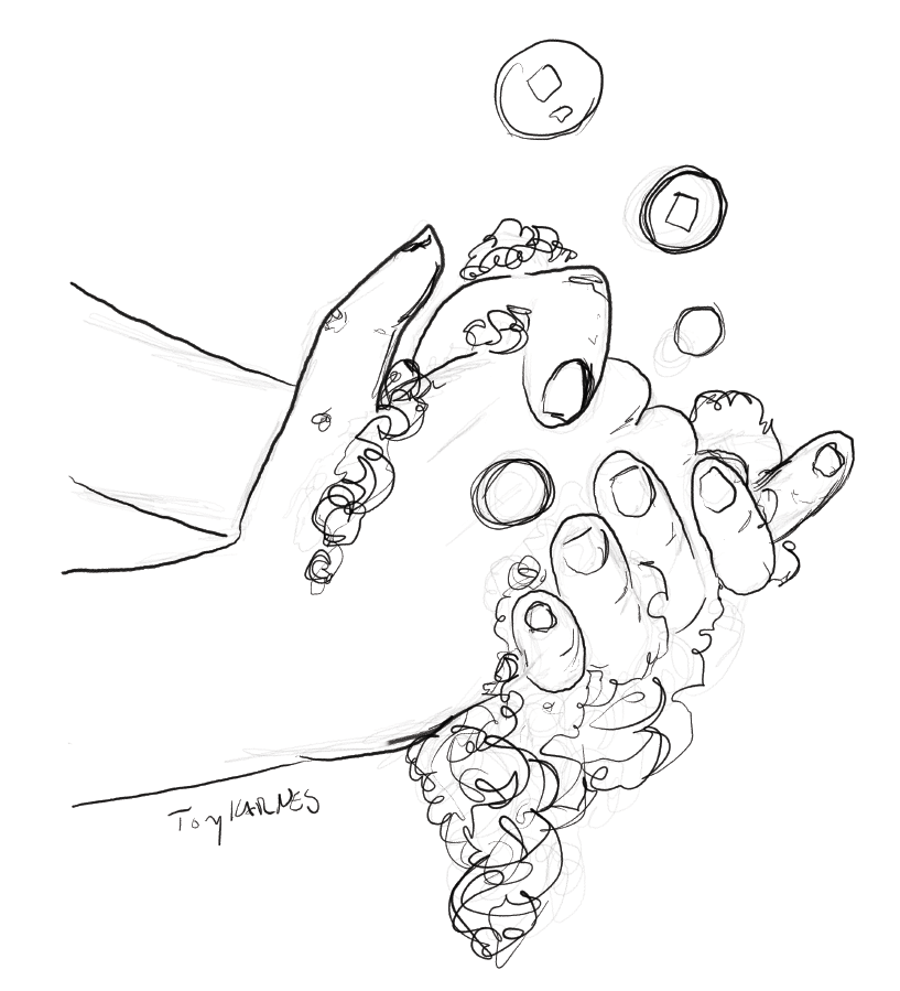 drawing of hands washing by Tony Karnes