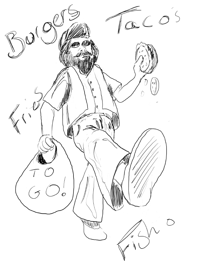 drawing of man walking with food by Tony Karnes