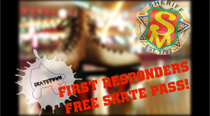 "Blurred background with SafetyMan logo and ""first responders free skate pass"""