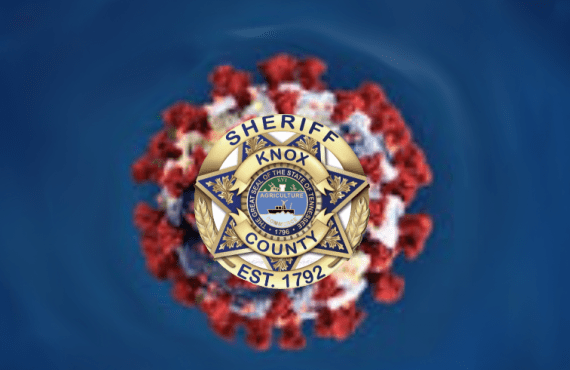 Sheriff badge over virus with blue background