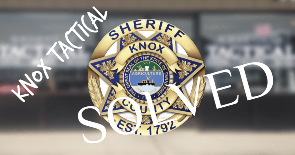 "KCSO badge with ""Knox Tactical solved"""