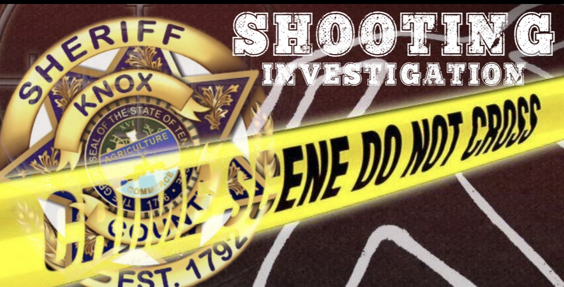 "Badge background with caution tape and ""Shooting Investigation"""