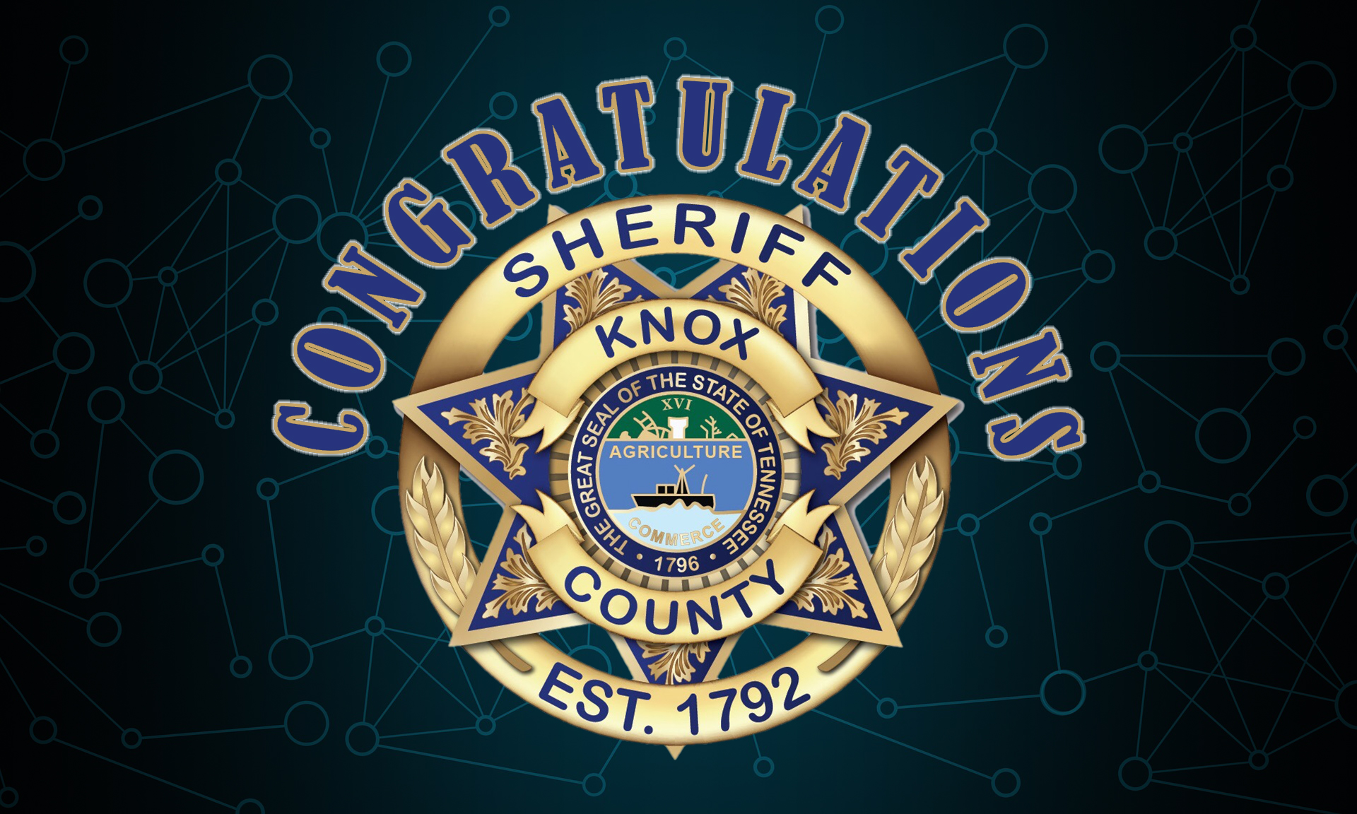 """KCSO Badge with """"Congratulations"""""""