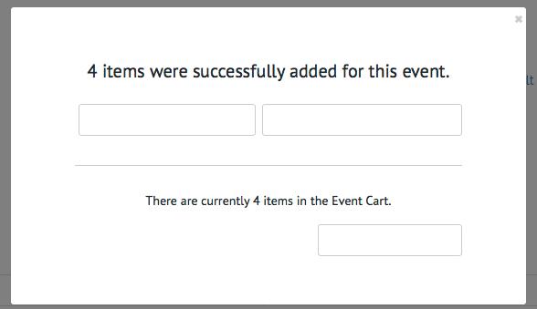 Event Cart popup