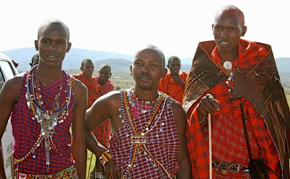 (l-r) Benson, Masai Research Assistant; Stephen, a soldier; and Wilson, a Masai Research Assistant.