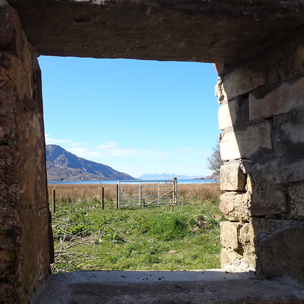 Through window of old Piggery on Knoydart